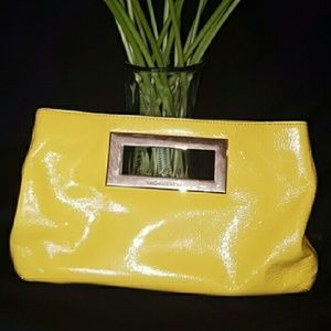 Michael Kors Berkley clutch patent leather yellow